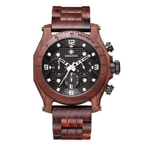Chronograph Men Sports Wooden Watches - Red - Quartz Watches