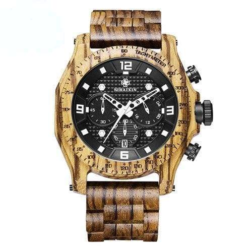 Chronograph Men Sports Wooden Watches - zebra - Quartz Watches
