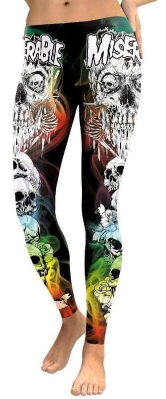 Colorful punk skull leggings - L - Leggings