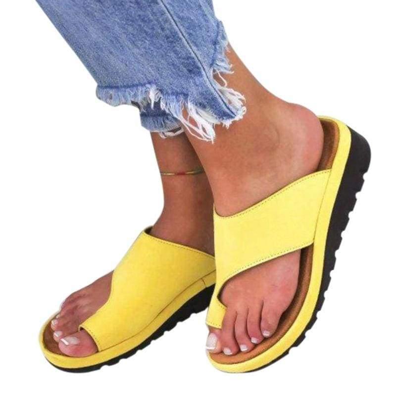 Comfy Platform Sandals - YELLOW / 36 - Low Heels