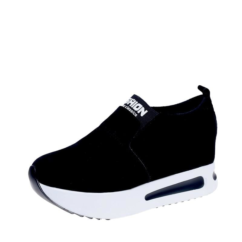 Creepers Spring Increasing Height Shoes - Black-Flock / 4 - Womens Pumps