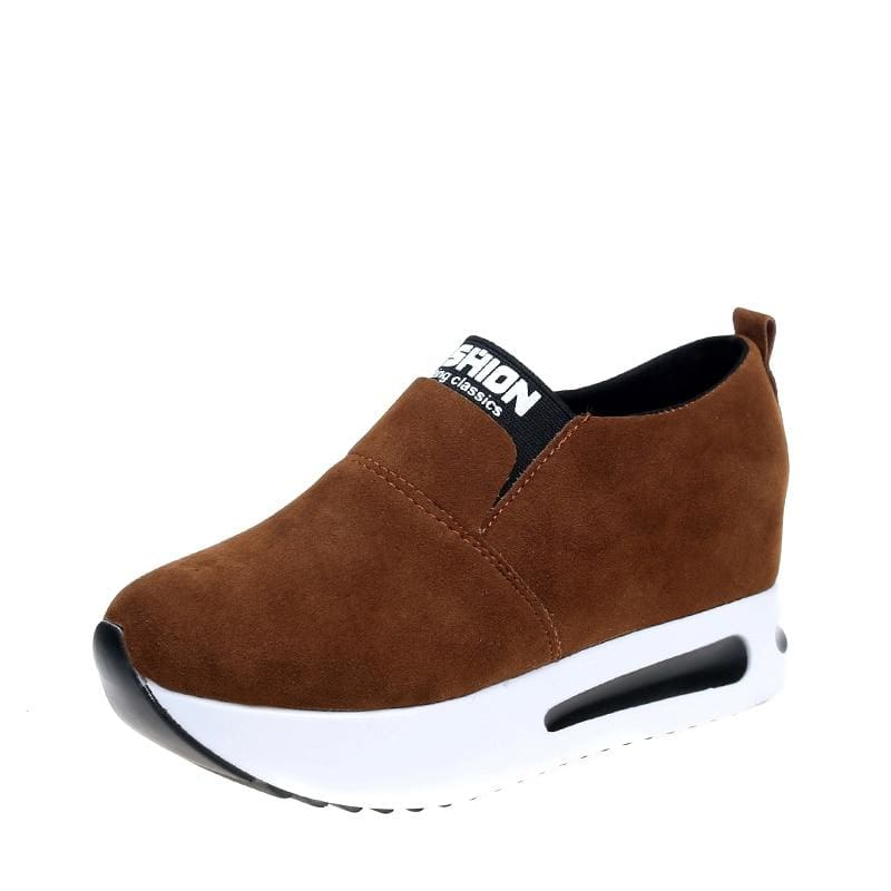 Creepers Spring Increasing Height Shoes - Brown-Flock / 4 - Womens Pumps