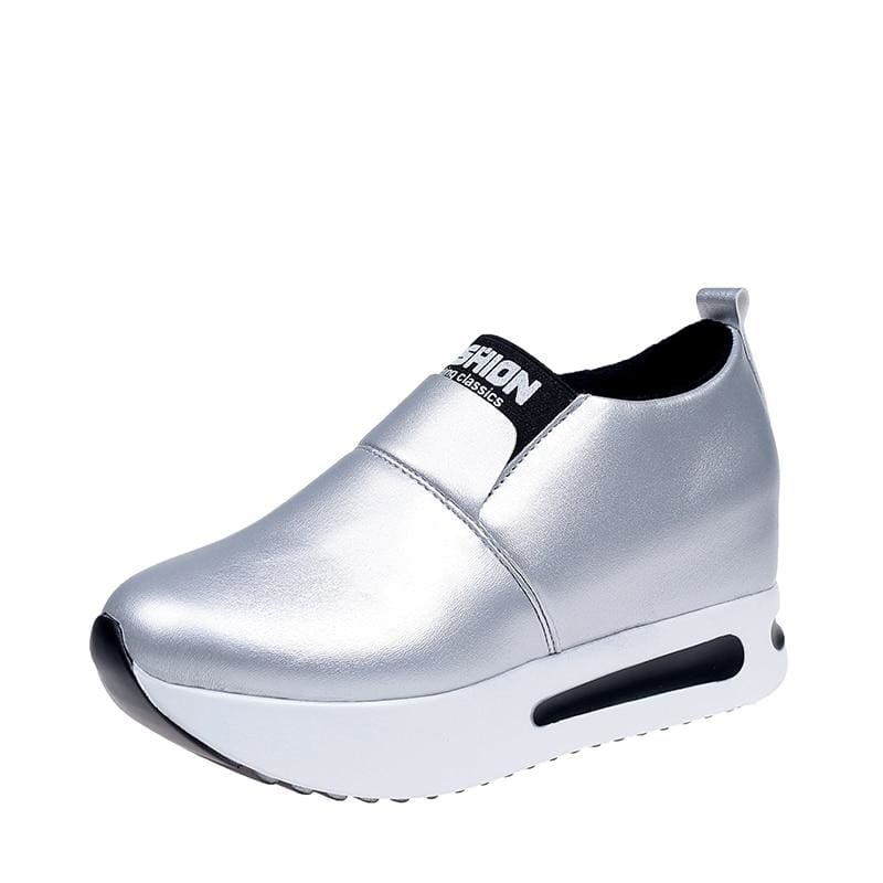 Creepers Spring Increasing Height Shoes - Sliver-PU / 4 - Womens Pumps