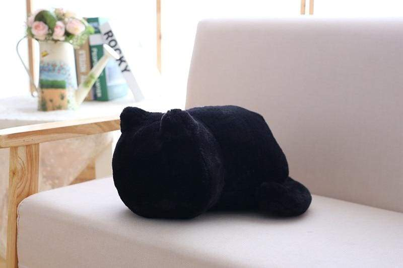 Cute cat fluffy pillow - Black - Cushion