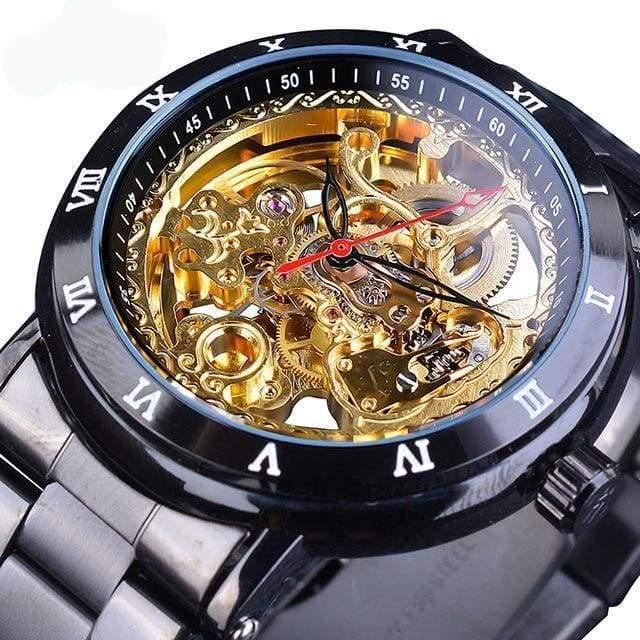 Diamond Mechanical Wrist Watch - Black Gold - Mechanical Watches