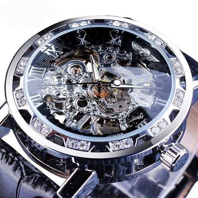 Diamond Mechanical Wrist Watch - Silver - Mechanical Watches