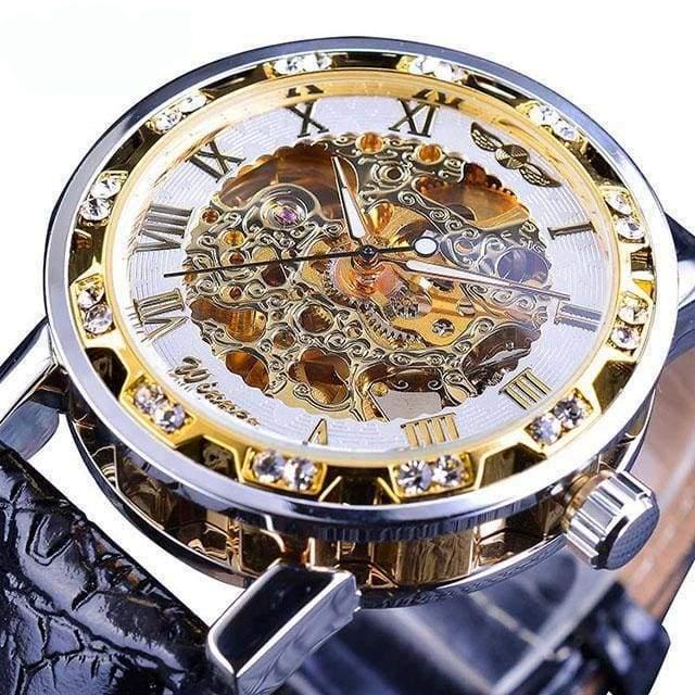 Diamond Mechanical Wrist Watch - White - Mechanical Watches