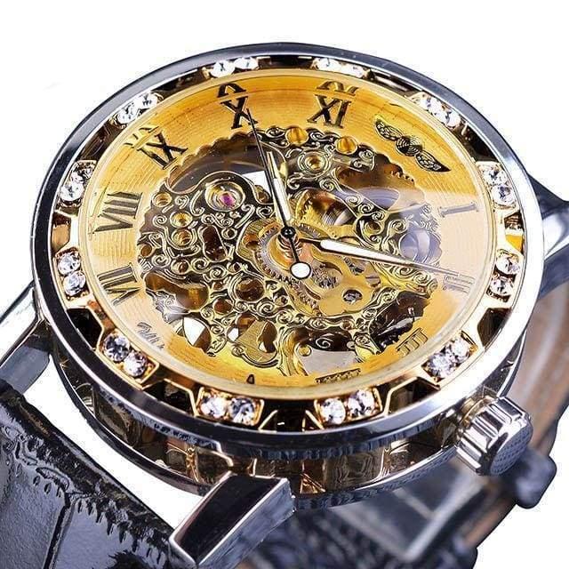 Diamond Mechanical Wrist Watch - Yellow - Mechanical Watches