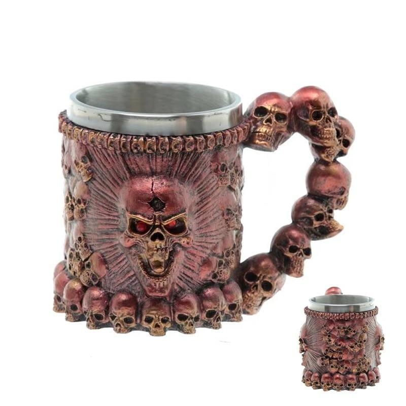 Retro Dragon Mug Skull - Red Monster - Mugs