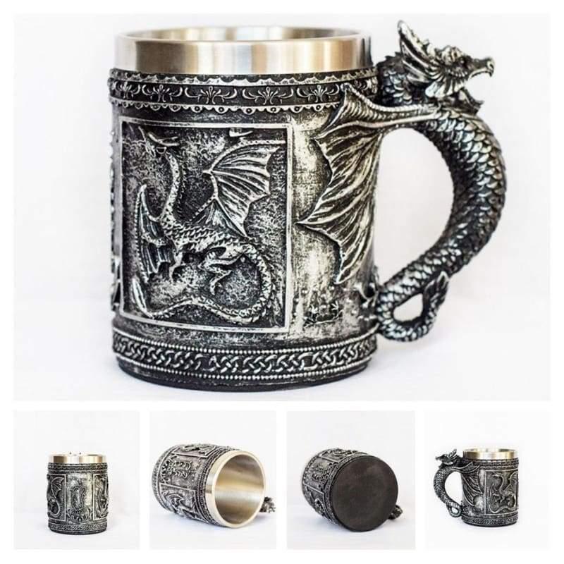 Retro Dragon Mug Skull - Silver Flying Dragon - Mugs