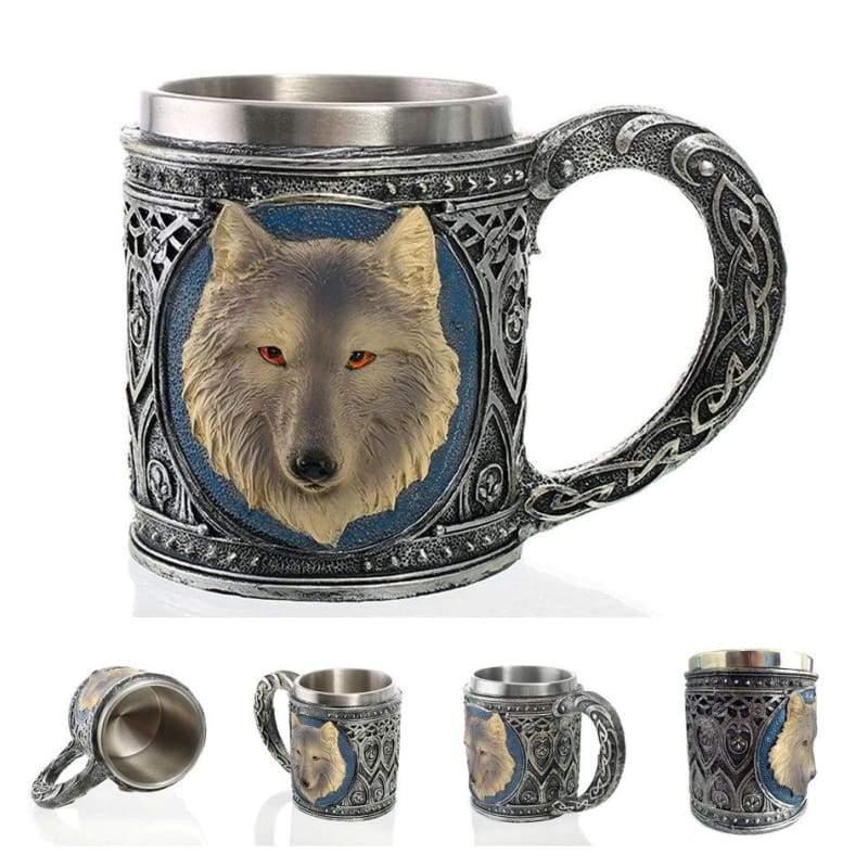 Retro Dragon Mug Skull - Wolf King - Mugs