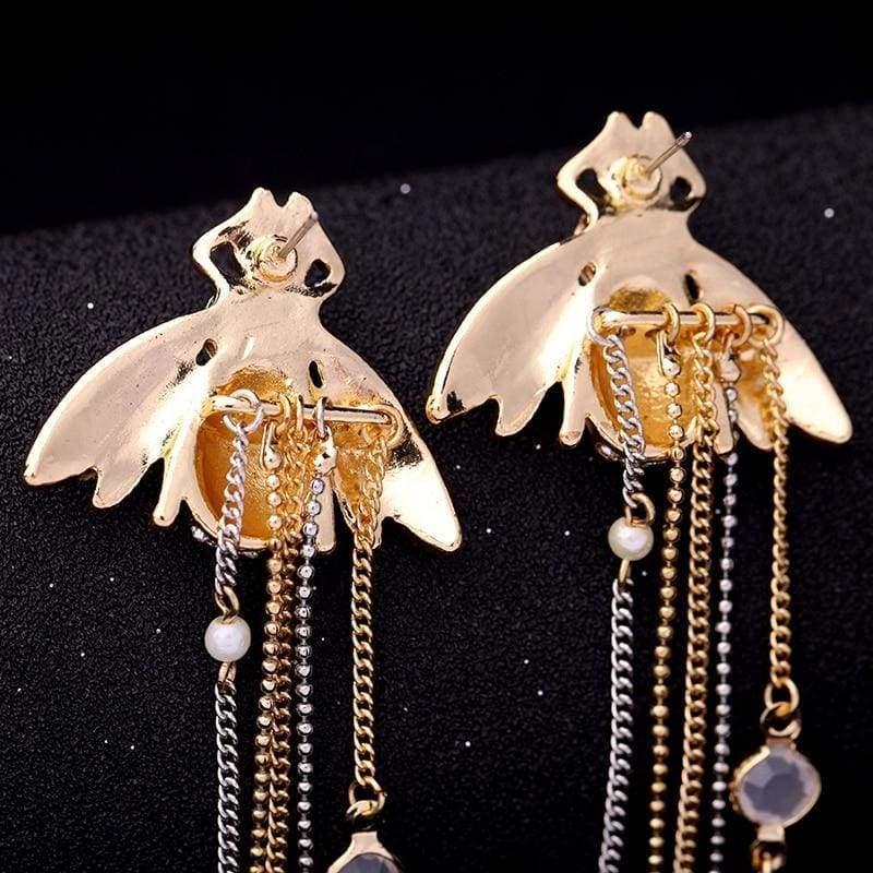Exquisite Crystal Bee Earrings - Drop Earrings