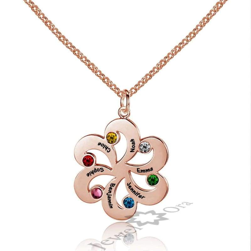 Family Jewelry Personalized 925 Sterling Silver Birthstone Flower Necklace - Pendant Necklaces