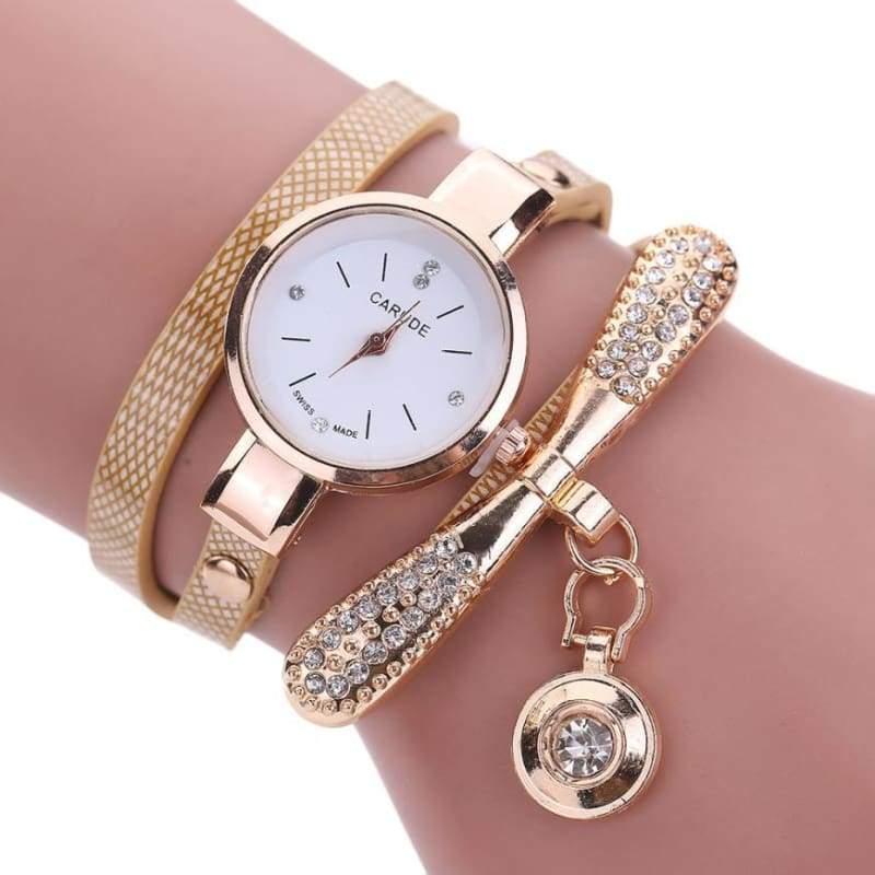 Fashion Bracelet Watch - Beige - Womens Watches