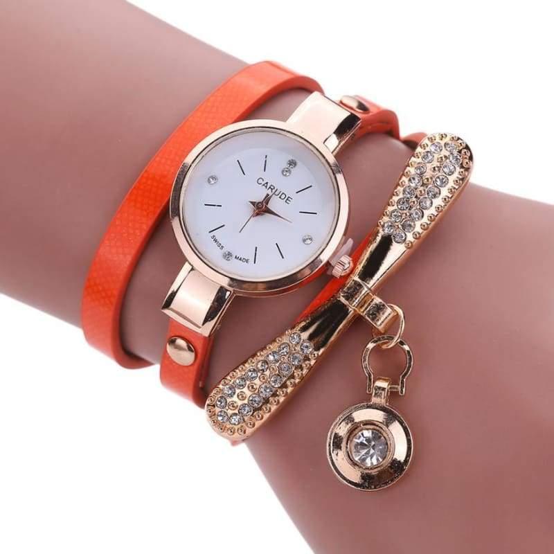 Fashion Bracelet Watch - Orange - Womens Watches
