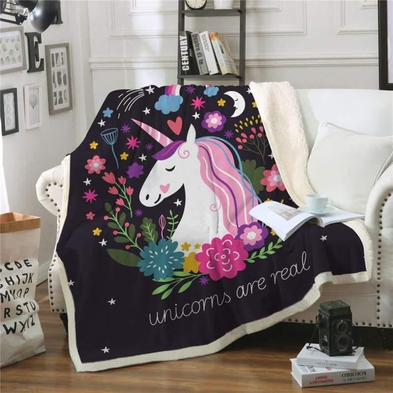 Fleece Blanket Unicorns for kids - 150cmx200cm - Blankets