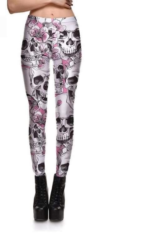 Floral Pink Skull leggings - L - Leggings