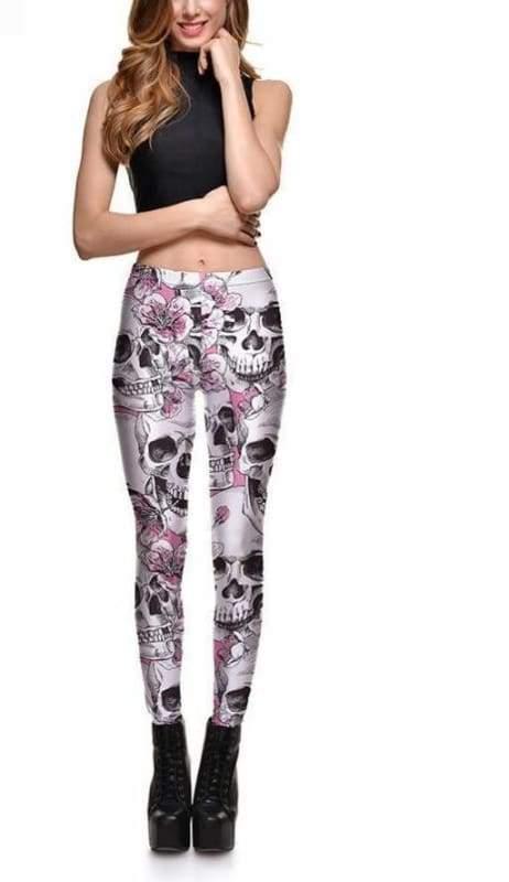 Floral Pink Skull leggings - Leggings