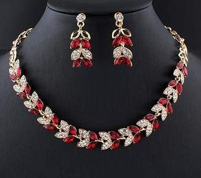 Glass Crystal Necklace Earrings Set - 1 - Bridal Jewelry Sets