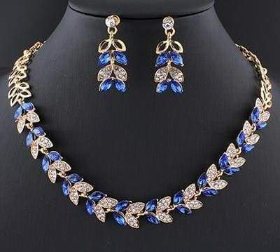 Glass Crystal Necklace Earrings Set - 2 - Bridal Jewelry Sets