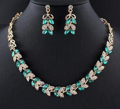 Glass Crystal Necklace Earrings Set - 3 - Bridal Jewelry Sets