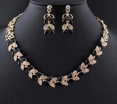 Glass Crystal Necklace Earrings Set - 4 - Bridal Jewelry Sets