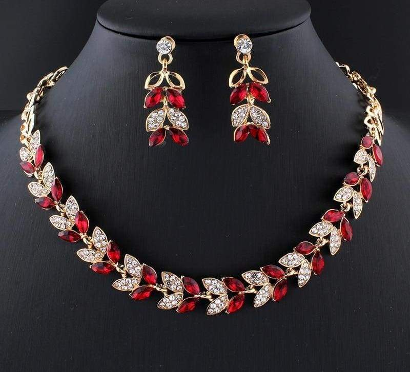 Glass Crystal Necklace Earrings Set - Bridal Jewelry Sets
