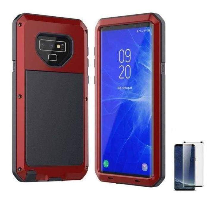 Glass Film+ Full Protective luxury doom armor Case Metal Case Samsung - Red / for Samsung S8 - Fitted Cases