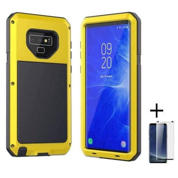 Glass Film+ Full Protective luxury doom armor Case Metal Case Samsung - Yellow / for Samsung S8 - Fitted Cases
