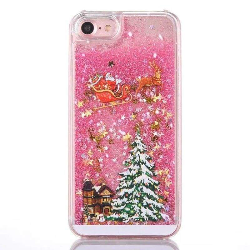 Gold Snowflake Case - Pink / For Samsung S7 Edge - Fitted Cases