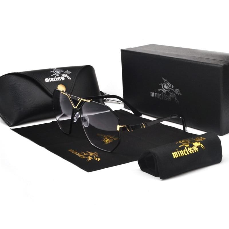 Gold Trim Tinted Sunglasses - gold black gray - Sunglasses