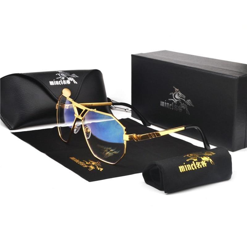 Gold Trim Tinted Sunglasses - gold clear - Sunglasses