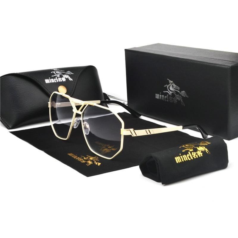 Gold Trim Tinted Sunglasses - gold white gray - Sunglasses