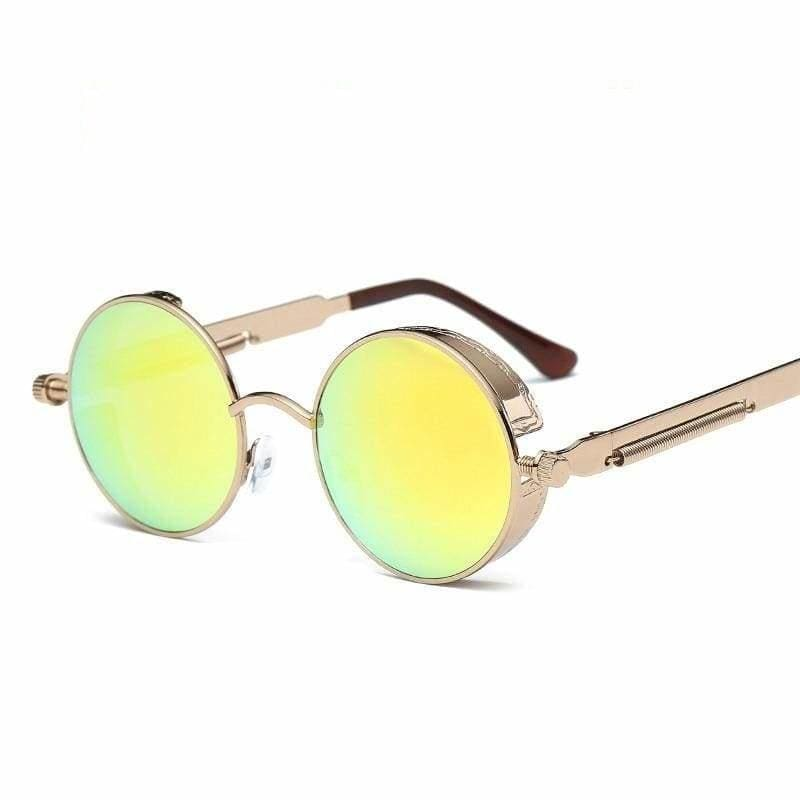 Gothic Steampunk Round Metal Sunglasses for Unisex - 6631 bronze f yellow - Sunglasses