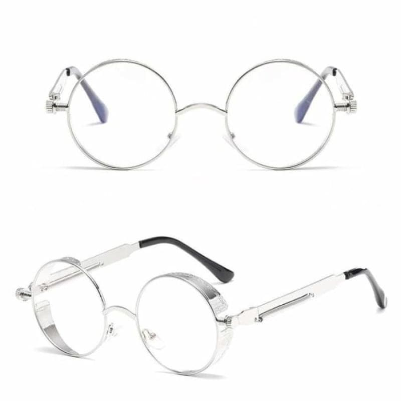 Gothic Steampunk Round Metal Sunglasses for Unisex - 6631 silver clear - Sunglasses