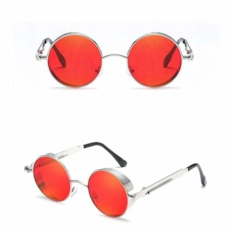 Gothic Steampunk Round Metal Sunglasses for Unisex - 6631 silver red - Sunglasses