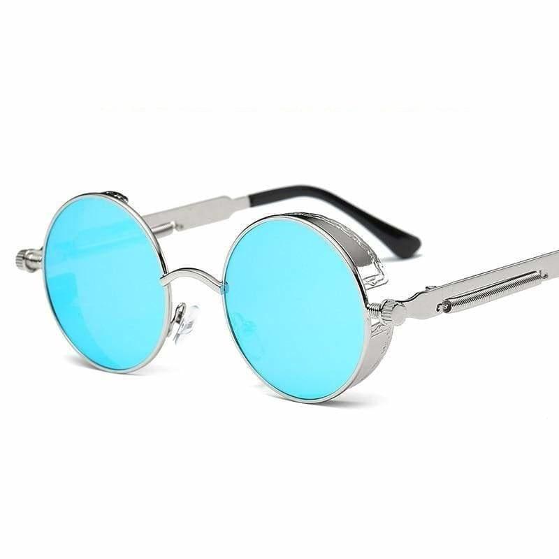 Gothic Steampunk Round Metal Sunglasses for Unisex - 6631 sliver f blue - Sunglasses