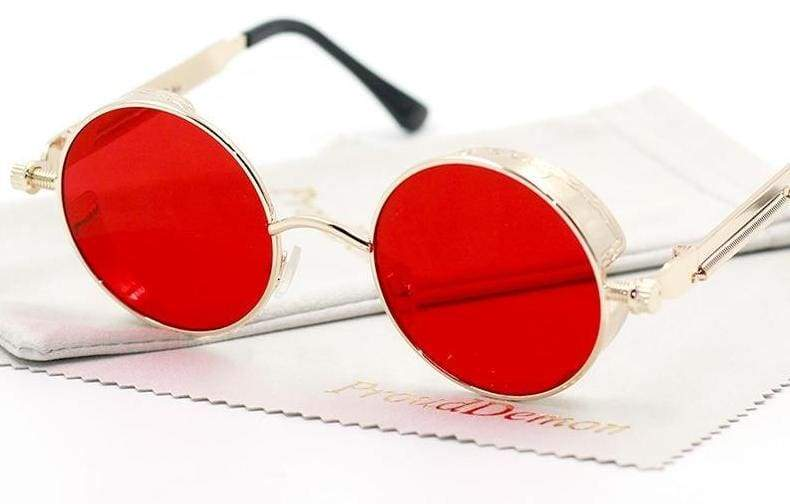 Gothic Steampunk Round Metal Sunglasses for Unisex - Sunglasses