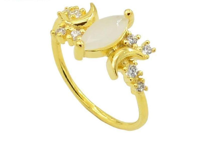 Half Moonstone Goddess Ring - 10 / Gold - Engagement Rings