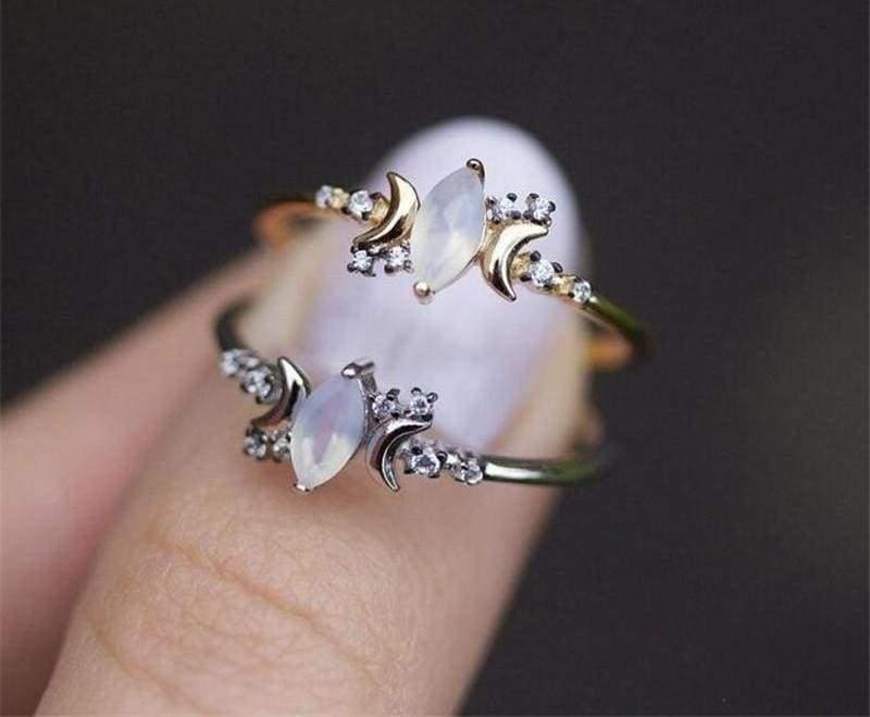 Half Moonstone Goddess Ring - Engagement Rings