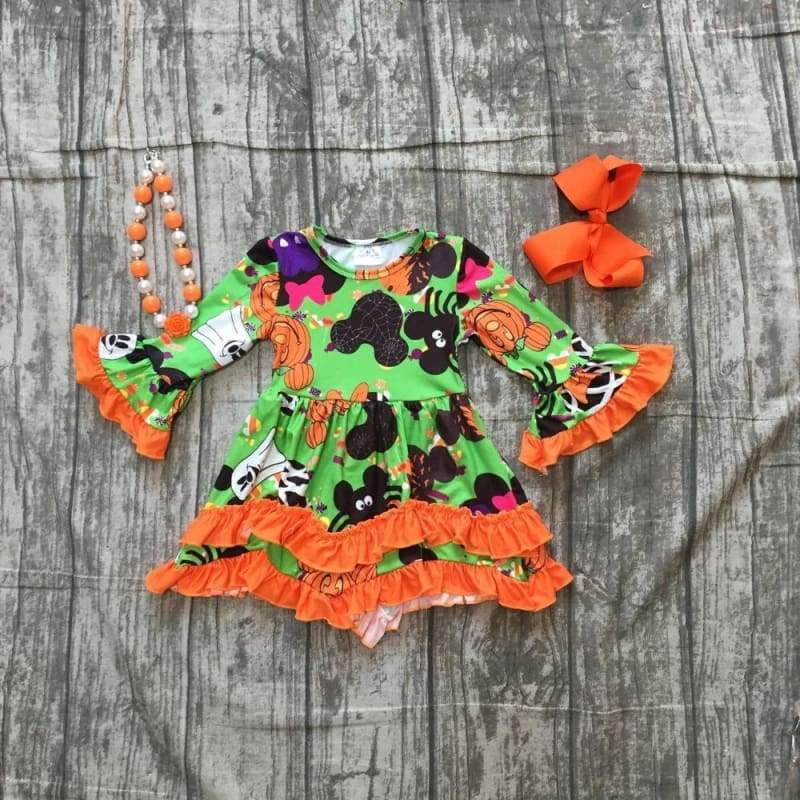 Halloween Orange Ruffle Dress with accessories - Clothing Sets