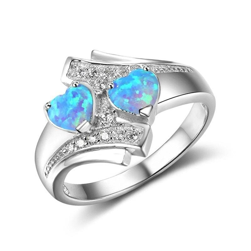 Heart Shaped Created By Fire Opal Rings - 10 / Blue - Wedding Bands