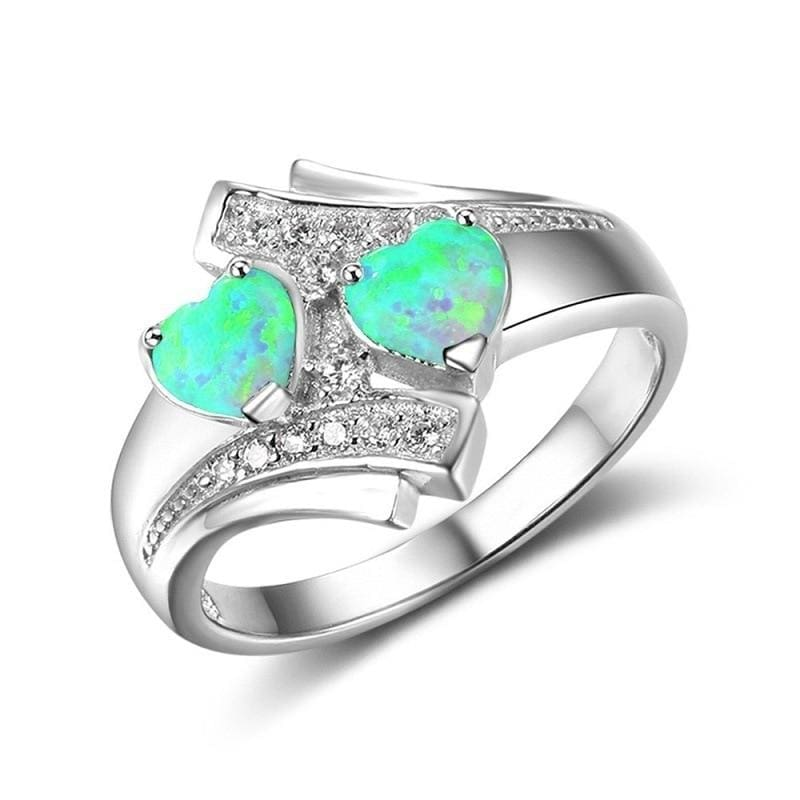 Heart Shaped Created By Fire Opal Rings - 10 / Green - Wedding Bands