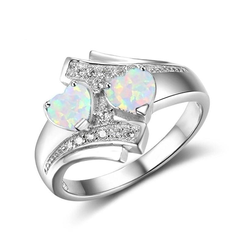 Heart Shaped Created By Fire Opal Rings - 10 / White - Wedding Bands