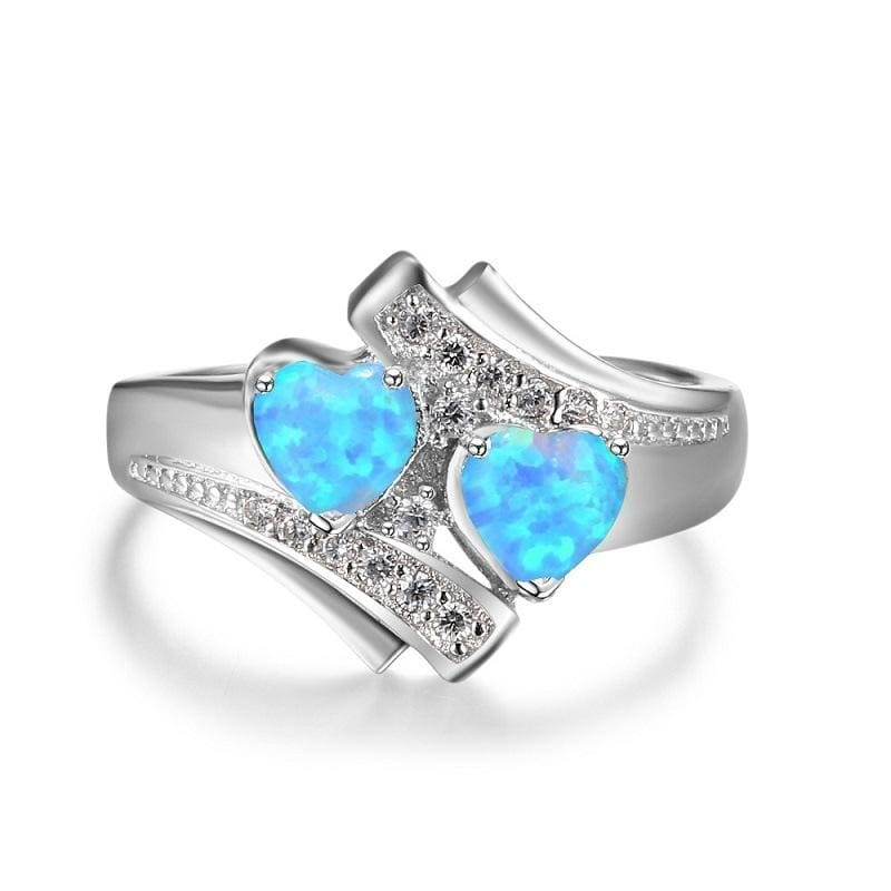 Heart Shaped Created By Fire Opal Rings - Wedding Bands
