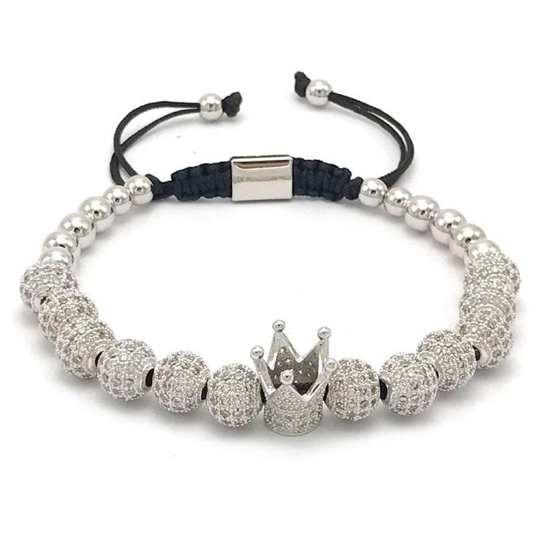 Imperial Crown Bracelet - Platinum Plated - Strand Bracelets