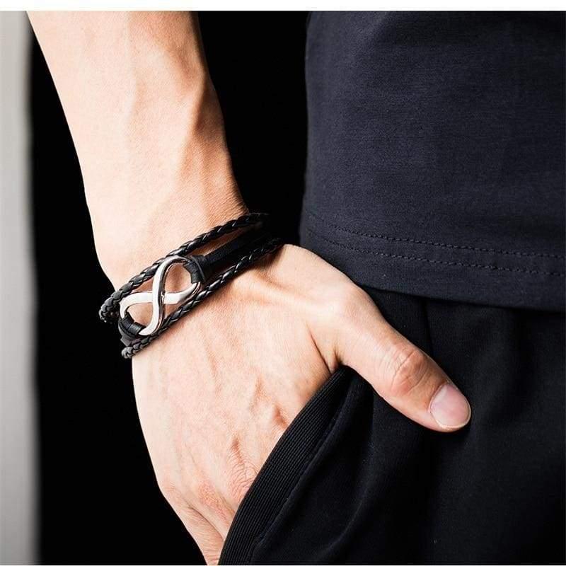 Infinity Leather Bracelet - ID Bracelets