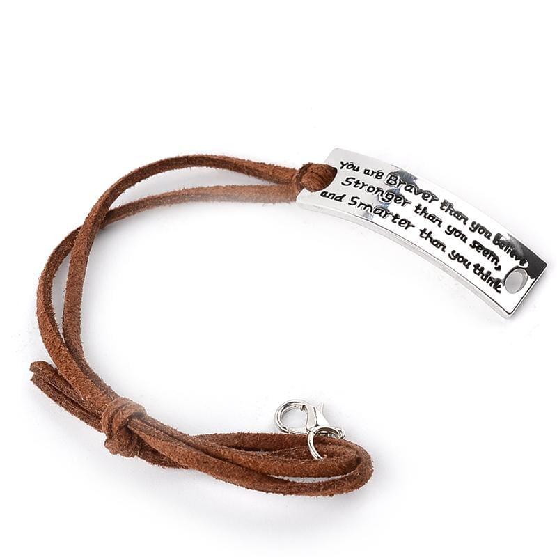 Inspirational Quotes Leather Bracelet - Strand Bracelets