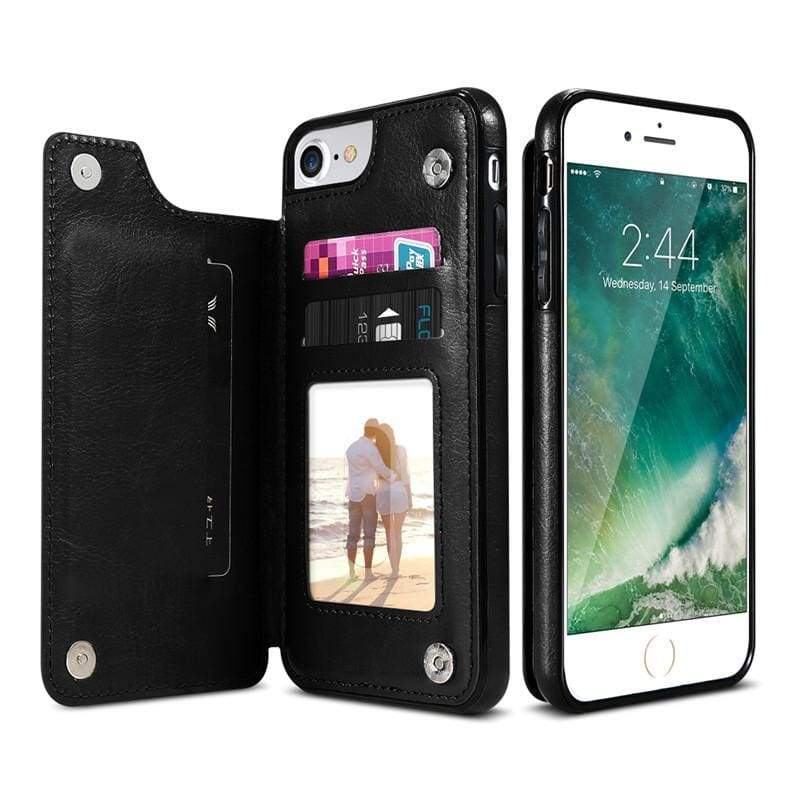 3 in 1 iphone cases Multifunctional wallet - Black / For iPhone 7 8 - Fitted Cases