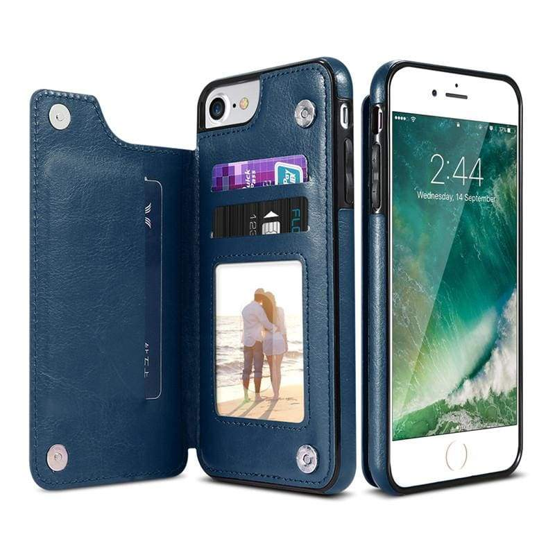 3 in 1 iphone cases Multifunctional wallet - Blue / For iPhone 7 8 - Fitted Cases